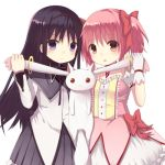 2girls :3 akemi_homura animal_ears black_hair bow choker dress ear_pull gloves hair_bow hairband jewelry kaname_madoka kyubey long_sleeves looking_at_viewer magical_girl mahou_shoujo_madoka_magica multiple_girls nekomo pendant pink_dress pink_eyes pink_hair puffy_sleeves red_eyes shirt short_sleeves simple_background skirt smile twintails violet_eyes white_background white_gloves