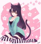 1girl ako_(nedm) animal_ears black_hair breasts cat_ears cat_tail cleavage full_body highres long_hair looking_at_viewer original red_eyes sitting skirt slit_pupils solo striped striped_legwear tail thigh-highs yokozuwari