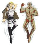 2boys armored_titan belt blonde_hair blush boots dakimakura grey_hair highres jacket multiple_boys parody reiner_braun shingeki_no_kyojin spoilers sweatdrop sword tanotsuku_daisuke thigh_strap weapon