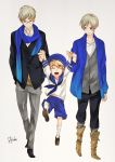 3boys axis_powers_hetalia blonde_hair blue_eyes closed_eyes finland_(hetalia) glasses himuka_roko holding_hands multiple_boys open_mouth scarf sealand_(hetalia) smile sweden_(hetalia) violet_eyes