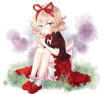 1girl blonde_hair bloomers blue_eyes bound_knees curly_hair frills hair_ribbon knees leg_hug medicine_melancholy minagi_(miraura) ribbon short_hair solo touhou underwear