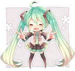 1girl ahoge chibi closed_eyes detached_sleeves double_v green_hair hatsune_miku long_hair necktie niwako open_mouth skirt solo thigh-highs twintails v very_long_hair vocaloid