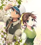 1boy 1girl ahoge brown_hair cherry_blossoms dark_skin green_eyes happy hat hattori_heiji mca_(dessert_candy) meitantei_conan open_clothes open_jacket ponytail short_hair smile tooyama_kazuha
