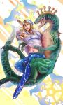1boy beanie blonde_hair blue_eyes diego_brando dinosaur hat johnny_joestar jojo_no_kimyou_na_bouken scary_monster_(stand) stand_(jojo) steel_ball_run u-ki0803