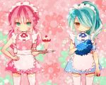 2boys androgynous apron aqua_hair blue_eyes blush crossdressing crossover dress inazuma_eleven inazuma_eleven_(series) inazuma_eleven_go kazemaru_ichirouta kirino_ranmaru long_hair male multiple_boys pink_hair thigh-highs trap tray twintails waitress yoshida_(nono_ko) zettai_ryouiki
