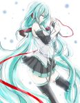 1girl closed_eyes detached_sleeves green_hair hatsune_miku long_hair microphone microphone_stand necktie skirt solo tears thigh-highs twintails very_long_hair vocaloid