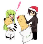 1boy 1girl bag black_hair blush breasts c.c. cheese-kun christmas code_geass ears green_hair hat jacket lelouch_lamperouge long_hair long_sleeves mizunomoto open_mouth ribbon santa_hat short_hair source_request straitjacket tagme text top_hat violet_eyes yellow_eyes