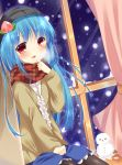 1girl alternate_costume bekotarou blue_hair food fruit hat hinanawi_tenshi long_hair looking_at_viewer open_mouth peach red_eyes scarf smile snowman solo touhou
