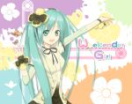 1girl butterfly green_eyes green_hair hatsune_miku long_hair open_mouth outstretched_arm reiya solo title_drop twintails vocaloid weekender_girl_(vocaloid)