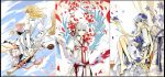 3girls alternate_costume border bouquet broom broom_riding fancybetty flower fujiwara_no_mokou kamishirasawa_keine kirisame_marisa mini-hakkero multiple_girls parody petals scroll single_shoe style_parody touhou
