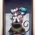 2girls absurdres animal_ears basket blush capelet dress eating green_eyes green_hair grey_hair hand_on_another's_shoulder hands_together highres jewelry kasodani_kyouko mouse mouse_ears mouse_tail multiple_girls nazrin open_mouth pendant raionsan red_eyes short_hair skirt smile tail touhou