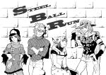 1girl 3boys beanie diego_brando greyscale gyro_zeppeli hat hoodie hot_pants_(sbr) johnny_joestar jojo_no_kimyou_na_bouken monochrome multiple_boys steel_ball_run tem_(artist) title_drop