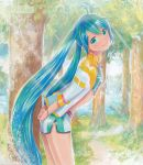 1girl aqua_eyes aqua_hair artist_name bracelet hatsune_miku jewelry leaning_forward long_hair looking_at_viewer marker_(medium) mayo_riyo shorts solo traditional_media tree twintails very_long_hair vocaloid