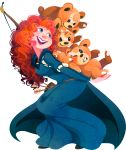 1girl arrow belt blue_eyes bow_(weapon) brave_(pixar) cape carrying crossover curly_hair freckles kuitsuku long_hair merida_(brave) open_mouth pixar pokemon pokemon_(creature) redhead simple_background teddiursa teeth transparent_background weapon