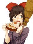 1girl akamega black_hair bow broom eating egg food hair_bow kiki majo_no_takkyuubin short_hair solo studio_ghibli toast