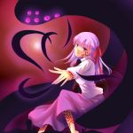 1girl dark_sakura facial_mark fate/hollow_ataraxia fate/stay_night fate_(series) hair_ribbon long_hair matou_sakura monster purple_hair ribbon shadow_(fate/stay_night) sheeg solo tattoo violet_eyes