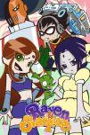 2girls 3boys alien animal beast_boy_(dc) black_hair car cartoon_network character_name chuck_(psg) cyborg_(dc) dc_comics dick_grayson domino_mask green_eyes mask motor_vehicle multiple_boys multiple_girls panty_&_stocking_with_garterbelt parody purple_hair raven_(dc) robin_(dc) slade_(teen_titans) starfire style_parody teen_titans tyuugokuikitai vehicle violet_eyes