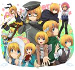 1boy androgynous animal_ears armin_arlert bag bird blanket blonde_hair blue_eyes blush book bunnysuit cape cat coat duck glasses handkerchief hat high_heels insignia jacket marimo_danshaku pajamas pantyhose rabbit_ears shingeki_no_kyojin shoes short_hair smile star tears top_hat tote_bag track_suit wings