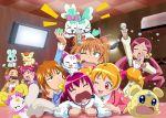 >_< 6+girls :3 blonde_hair candy_(smile_precure!) chypre_(heartcatch_precure!) closed_eyes coco_(precure_5) coffret_(heartcatch_precure!) doughnut drinking eating flappy fresh_precure! fuchi_(nightmare) futari_wa_precure futari_wa_precure_splash_star hanasaki_tsubomi heartcatch_precure! highres hoshizora_miyuki houjou_hibiki hummy_(suite_precure) hyuuga_saki indoors karaoke mepple microphone misumi_nagisa momozono_love multiple_girls orange_hair pink_hair precure singing smile_precure! suite_precure tart_(fresh_precure!) tears wince wink yes!_precure_5 yumehara_nozomi