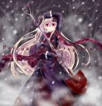 1girl axis_powers_hetalia black_gloves blonde_hair blood gloves grin hair_in_mouth ido_(pixiv1101145) long_hair red_eyes russian scarf shaded_face shovel smile snow solo translated worktool yandere