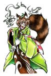 1girl :3 absurdres animal_ears bottle brown_eyes brown_hair checkered clothing_request eyelashes futatsuiwa_mamizou glasses goku_(acoloredpencil) highres japanese_clothes leaf leaf_on_head looking_at_viewer pince-nez raccoon_ears raccoon_tail red_glasses sake_bottle scarf semi-rimless_glasses short_hair simple_background solo tail touhou under-rim_glasses white_background wide_sleeves wisp