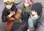 1girl 2boys black_hair blonde_hair blue_eyes forehead_protector green_eyes grin haruno_sakura multiple_boys naruto naruto_shippuuden oba-min pink_hair short_hair smile team7 uchiha_sasuke uzumaki_naruto
