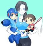 1girl 2boys arm_cannon ban_(3551702) black_hair blue_eyes carrying doubutsu_no_mori grey_eyes helmet long_hair midriff multiple_boys net ponytail rockman rockman_(character) rockman_(classic) super_smash_bros. tank_top trainer_(wii_fit) villager_(doubutsu_no_mori) weapon white_skin wii_fit