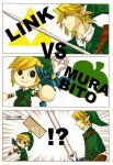 black_eyes blonde_hair blue_eyes comic doubutsu_no_mori earrings gloves gr-project hat jewelry link nintendo pointy_ears super_smash_bros. sword the_legend_of_zelda villager_(doubutsu_no_mori) weapon