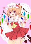 1girl ascot blonde_hair bobby_socks flandre_scarlet hat heart highres jumping kenpin looking_at_viewer mary_janes open_mouth red_eyes shoes short_hair side_ponytail simple_background smile socks solo touhou wings