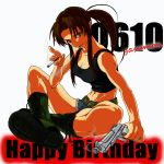 1girl artist_name bare_shoulders belt black_lagoon boots breasts brown_eyes brown_hair cigarette cleavage cross-laced_footwear cutoffs denim denim_shorts gun happy_birthday indian_style lace-up_boots navel payot ponytail revy shorts sitting smoke smoking smoking_gun toned weapon yasumon_(nakanoko)