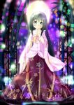 1girl bamboo black_hair green_eyes highres houraisan_kaguya japanese_clothes keespring long_hair solo stained_glass straight_hair touhou very_long_hair wide_sleeves