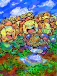 clothed_pokemon grass hat marill pokemon sunflora tegaki