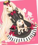 1girl axe blonde_hair bow earrings elbow_gloves gloves jewelry lolita_fashion long_hair machico_(mayuxoxo) mayu_(vocaloid) piano_print smile solo stuffed_animal stuffed_toy very_long_hair vocaloid weapon yellow_eyes