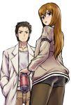 bike_shorts brown_hair dr_pepper g-tetsu labcoat long_hair makise_kurisu okabe_rintarou pantyhose soft_drink steins;gate