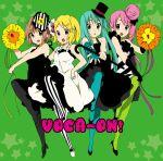 "akiyama_mio akiyama_mio_(cosplay) asagi_(seal47) blue_legwear cosplay cover don't_say_lazy don't_say_""lazy"" green_legwear hatsune_miku hirasawa_yui hirasawa_yui_(cosplay) k-on! kagamine_rin kotobuki_tsumugi kotobuki_tsumugi_(cosplay) megurine_luka meiko multiple_girls pantyhose parody tainaka_ritsu tainaka_ritsu_(cosplay) turquoise_pantyhose vertical-striped_legwear vertical_stripes vocaloid"