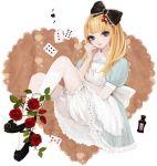 blonde_hair bloomers blue_eyes bow card dress falling_card floating_card flower hair_bow rose
