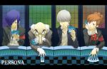 armband black_eyes blue_eyes blue_hair bow brown_hair card cards female_protagonist_(persona_3) funtarunta gloves grey_eyes grey_hair grin hair_ornament hairclip headphones holding holding_card igor jacket narukami_yuu persona persona_3 persona_3_portable persona_4 pointy_ears red_eyes school_uniform seta_souji short_hair smile