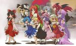 6+girls akuto ascot barefoot bat_wings black_dress black_hair blonde_hair blue_dress blue_eyes blue_hair blush_stickers bow braid broom broom_riding brown_eyes capelet cirno closed_eyes detached_sleeves dress eating flandre_scarlet flying food gohei grin hair_bow hair_ribbon hair_tubes hakurei_reimu hand_on_hat hat hat_bow head_wings hong_meiling ice ice_wings izayoi_sakuya kirisame_marisa koakuma laevatein long_hair long_sleeves maid maid_headdress multiple_girls open_clothes open_coat open_mouth parasol patchouli_knowledge puffy_sleeves purple_dress purple_hair red_eyes redhead remilia_scarlet ribbon rumia shirt short_hair short_sleeves siblings side_ponytail silver_hair single_braid sisters skirt skirt_set smile star striped striped_dress the_embodiment_of_scarlet_devil touhou twin_braids umbrella very_long_hair violet_eyes walking wings witch_hat