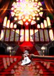 1girl bat_wings blue_hair checkered checkered_floor crossed_legs lystick red_eyes reflection reflective_floor remilia_scarlet sitting solo stained_glass stairs throne touhou transparent transparent_wings wings