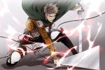 belt brown_hair cape foreshortening insignia jean_kirchstein kai28 shadow shingeki_no_kyojin sword three-dimensional_maneuver_gear weapon