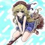 1girl alternate_costume bare_shoulders blonde_hair blush broom brown_eyes dress hat kirisame_marisa nanashii_(soregasisan) solo touhou