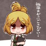 1girl blonde_hair blush_stickers brown_eyes doubutsu_no_mori looking_at_viewer personification sakichi_(gyro7msk) shizue_(doubutsu_no_mori) solo topknot translated