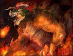 bowser fire flag giant glowing glowing_eyes horns kazeco nintendo redhead sharp_teeth shell spikes