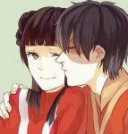 1boy 1girl avatar:_the_last_airbender black_hair brown_eyes cheek_kiss couple kiss krusier mai_(avatar) scar wink zuko
