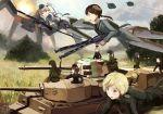 brown_hair erica_hartmann fire flying g3a3_(upotte!!) gertrud_barkhorn girls_und_panzer gun hanna_rudel hk33e_(upotte!!) hk53_(upotte!!) itsumi_erika jagdpanther kanokoga king_tiger machine_gun mg42 military military_vehicle multiple_girls neuroi nishizumi_maho ritaiko smoke strike_witches tank tiger_(tank) upotte!! vehicle war weapon