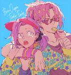 2boys candy diavolo freckles jaguchi_(bbbing) jojo_no_kimyou_na_bouken lollipop long_hair multiple_boys pink_hair ponytail purple_hair sunglasses vinegar_doppio violet_eyes visor_cap
