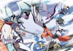aerial_battle battle clouds crobat fly highres noivern pokemon pokemon_(game) pokemon_battle pokemon_trainer pokemon_xy riding sky tagme tail talonflame uxie volcarona wings yuuichi_(reductionblack)