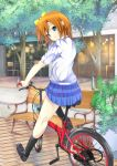 bench bicycle blue_eyes blush bow chair hair_bow koucha_maru kousaka_honoka looking_back love_live!_school_idol_project orange_hair school_uniform short_hair side_ponytail skirt smile storefront tree