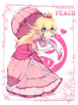 blonde_hair blue_eyes crown dress earrings gloves jewelry long_hair nintendo princess_peach smile super_mario_bros. umbrella