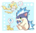 2027_(submarine2027) blue_fire blush circle fan fire heart jirachi joltik no_humans pokemon pokemon_(creature) popsicle quilava shaved_ice sleeping speech_bubble star zzz
